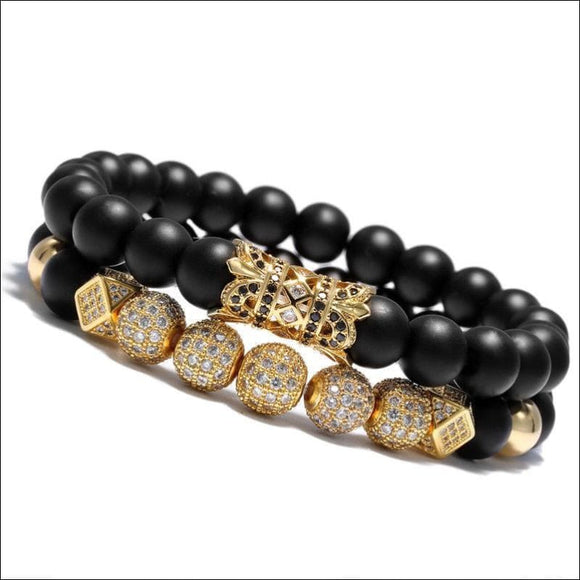 2018 Luxury Micro Pave CZ Ball Crown Charm Bracelet Men Jewelry Matte Agate Bead - AmazinTrends.com