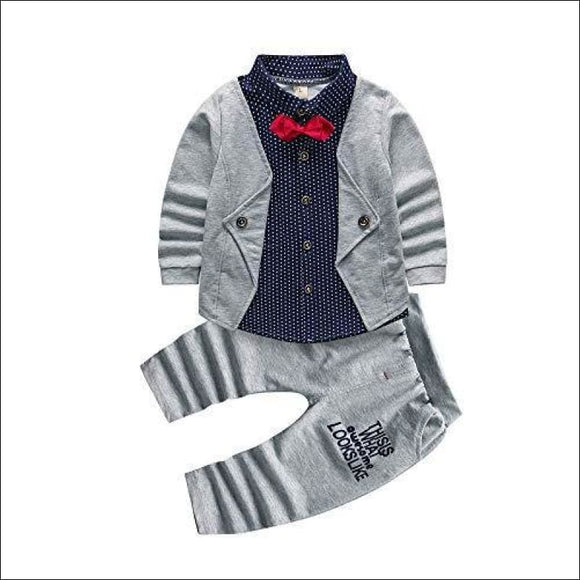 2pcs Infant Tuxedo Formal Suits Set Shirt + Pants Grey - AmazinTrends.com