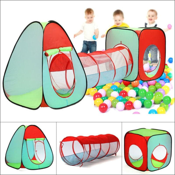 3 In 1 Kids Baby Play Tent Ball Pit Pool House Crawl Tunnel Indoor Outdoor Game - AmazinTrends.com