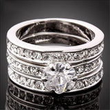 3-In-1 Women's CZ Wedding Ring Set White/Yellow/R - AmazinTrends.com