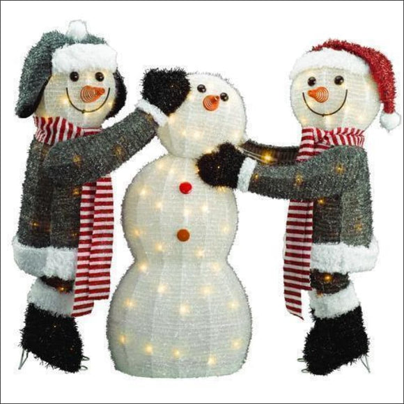 3-piece Snowmen Family, Outdoor Christmas Yard Decoration 🎅🎅🎅 - AmazinTrends.com