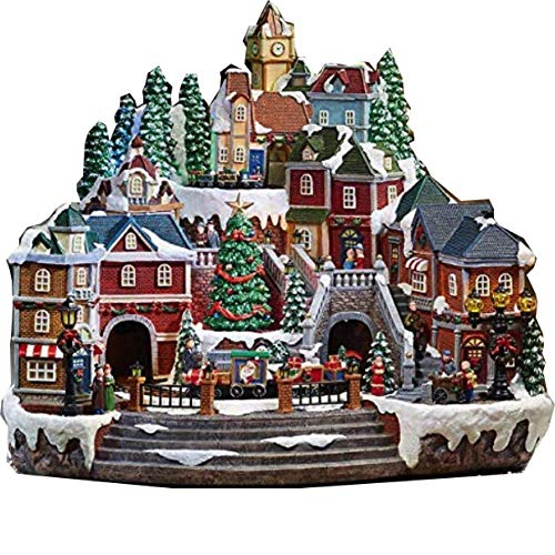 Christmas Village Animated with Lights, Music, and a Rotating Tree and Train - AmazinTrends.com