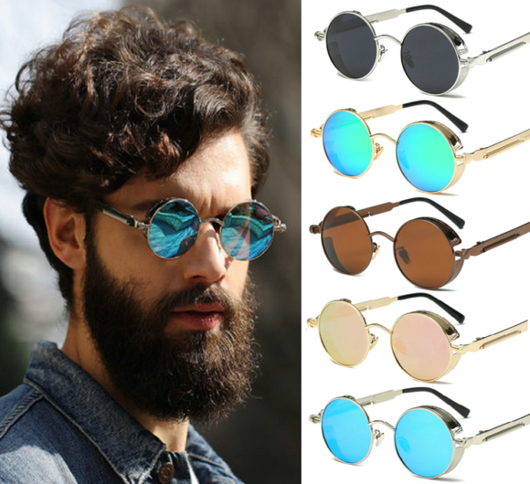 Retro Vintage Polarized Steampunk Sunglasses Fashion Round Mirrored Eyewear Gift - AmazinTrends.com