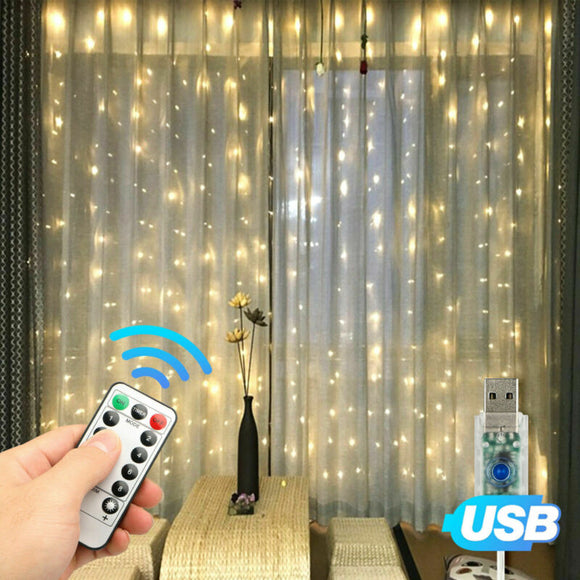 300LED Curtain Fairy Lights, USB, Party, Wedding, String Light, Home w/Remote Control - AmazinTrends.com