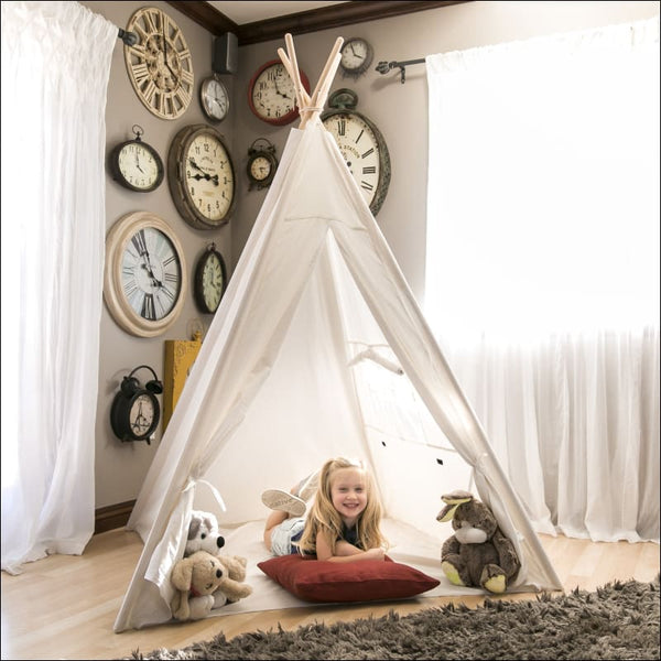 6ft White Teepee Tent Kids Indian Canvas Playhouse Sleeping Dome w/ Carrying Bag - White - AmazinTrends.com