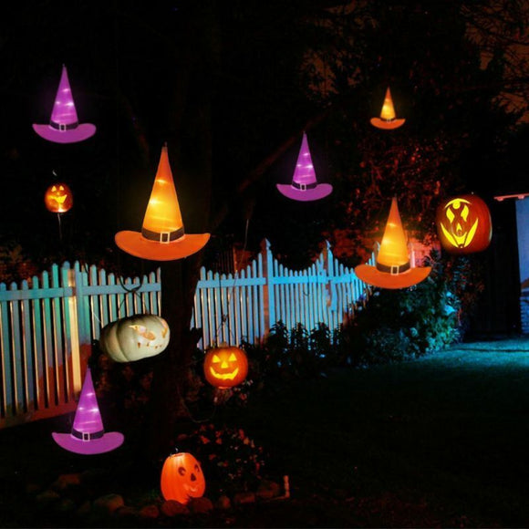 6PCS, 10M Halloween Decorations, Witch Hats, Caps, String Lights, Outdoor Lights - AmazinTrends.com