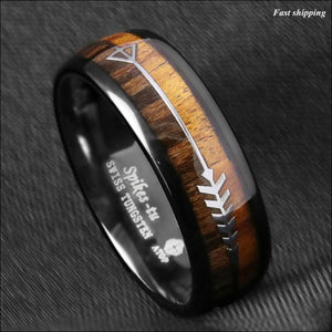 8/6mm Black Dome Tungsten Ring 2 Style Wood  Arrow - AmazinTrends.com
