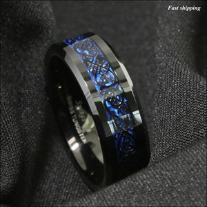 8/6mm Tungsten Carbide Ring, Black Celtic Ring - AmazinTrends.com
