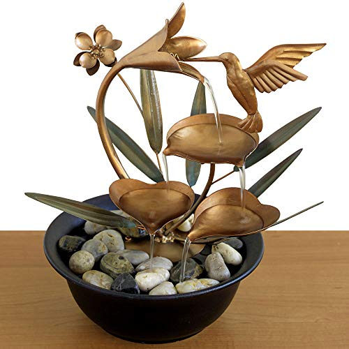 Bits and Pieces - Indoor Hummingbird Lily Fountain - Zen Tabletop Water Fountain - AmazinTrends.com