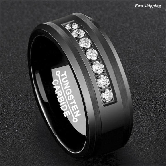 8mm Black Tungsten Carbide Ring, Diamonds Inlay - AmazinTrends.com