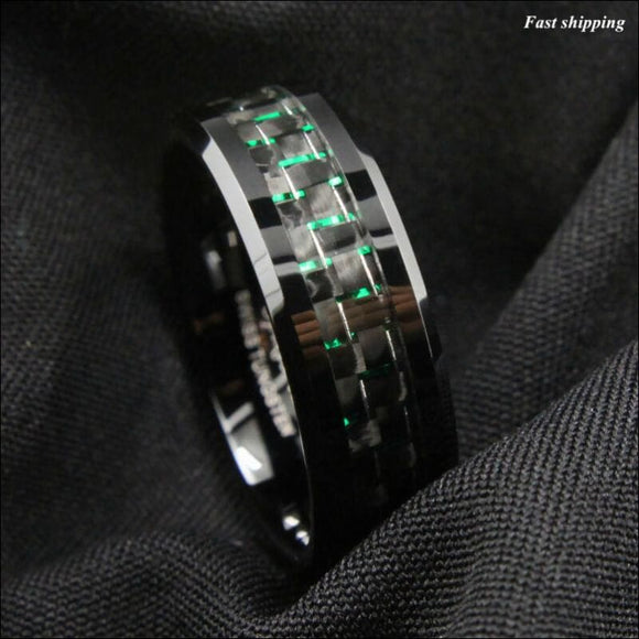 8mm Tungsten Ring, with Black and Green Carbon Fiber, Wedding Band, - AmazinTrends.com