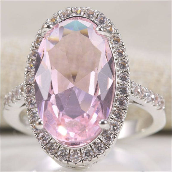 925 Silver Natural Oval Cut Huge Pink Sapphire Gem Wedding Engagement Ring 6-10 - AmazinTrends.com
