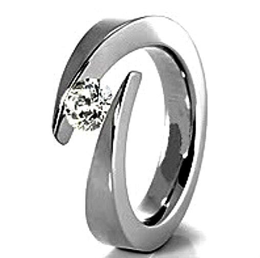 TITANIUM Bypass Tension Ring with 4.5mm Round CZ - AmazinTrends.com