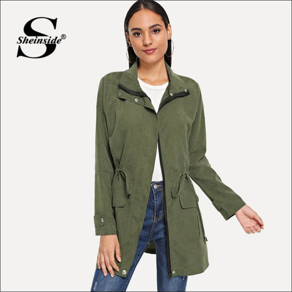Army Green Solid Drawstring Waist Coat - AmazinTrends.com