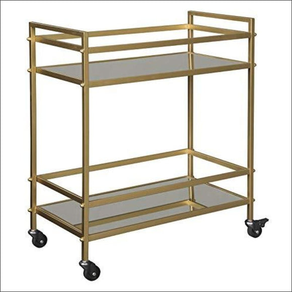 Ashley Furniture Signature Design - Jackford Bar Cart - Mid Century Style, 2 Shelves with Casters, Clear Glass, Antique Gold Finish - AmazinTrends.com