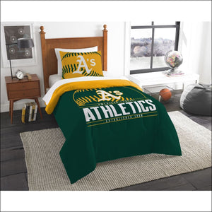 "Athletics OFFICIAL Major League Baseball, Bedding, Printed Twin Comforter (64""""x 86"""") & 1 Sham (24""""x 30"""") Set  by The Northwest Company - AmazinTrends.com"