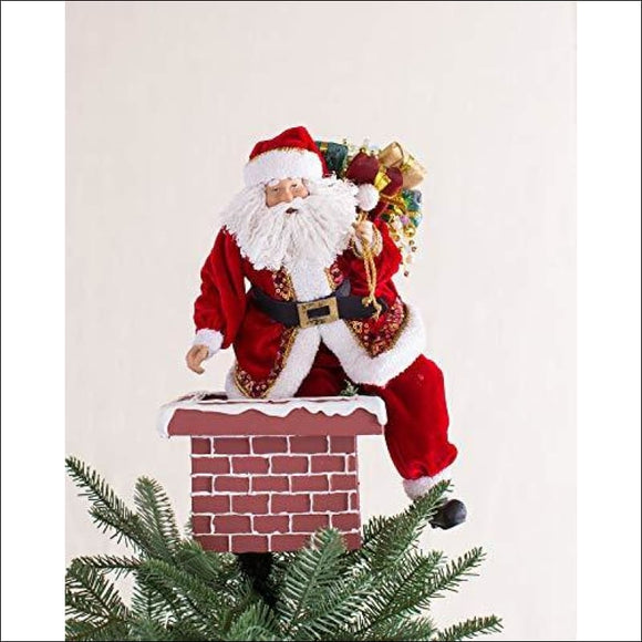 Balsam Hill Jolly Saint Nick Santa on Chimney Tree Topper - AmazinTrends.com