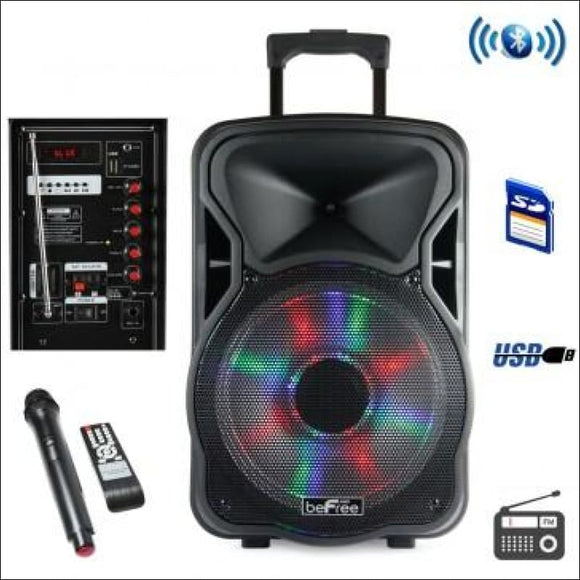 beFree Sound 12 Inch Bluetooth Rechargeable Party Speaker, With Illuminating Lights, - AmazinTrends.com