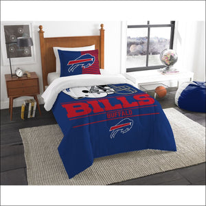 "Bills OFFICIAL National Football League, Bedding, """"Draft"""" Printed Twin Comforter (64""""x 86"""") & 1 Sham (24""""x 30"""") Set  by The Northwest Company - AmazinTrends.com"