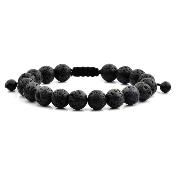 Black Lava Natural Healing Stone Bead Adjustable Bracelet (10mm) - AmazinTrends.com