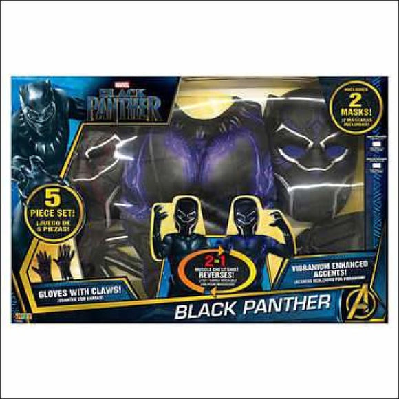 Black Panther 2-in-1 Reversible Muscle Chest Shirt and Mask, 5-piece Set - AmazinTrends.com