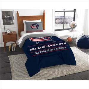 "Blue Jackets OFFICIAL National Hockey League, Bedding, """"Draft"""" Twin Printed Comforter (64""""x 86"""") & 1 Sham (24""""x 30"""") Set  by The Northwest Company - AmazinTrends.com"