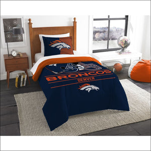 "Broncos OFFICIAL National Football League, Bedding, """"Draft"""" Printed Twin Comforter (64""""x 86"""") & 1 Sham (24""""x 30"""") Set  by The Northwest Company - AmazinTrends.com"