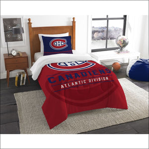 "Canadiens OFFICIAL National Hockey League, Bedding, """"Draft"""" Twin Printed Comforter (64""""x 86"""") & 1 Sham (24""""x 30"""") Set  by The Northwest Company - AmazinTrends.com"