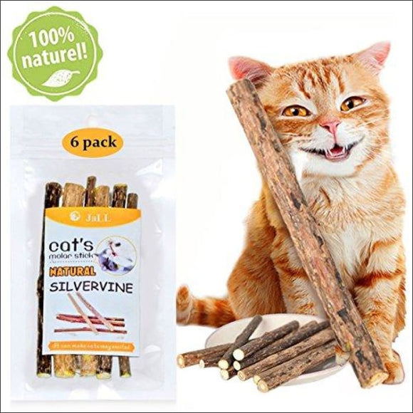Catnip Sticks 6 Pcs Matatabi Cat Stick Catnip Chew Sticks Pet Kitten Cleaning Teeth Healthy Care Organic Silver Vine Bully Sticks Ecological Toothbrush Dental Treats Molar Chew Toy - AmazinTrends.com