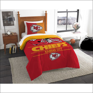 "Chiefs OFFICIAL National Football League, Bedding, """"Draft"""" Printed Twin Comforter (64""""x 86"""") & 1 Sham (24""""x 30"""") Set  by The Northwest Company - AmazinTrends.com"