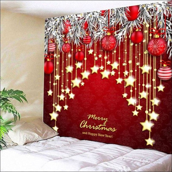 Christmas Ball and Star Print Wall Decor Tapestry - Red W79 Inch * L59 Inch - AmazinTrends.com
