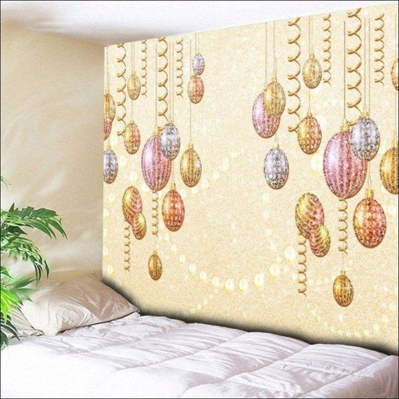 Christmas Ball Ornaments Print Wall Hanging Tapestry - Light Yellow W79 Inch * L59 Inch - AmazinTrends.com
