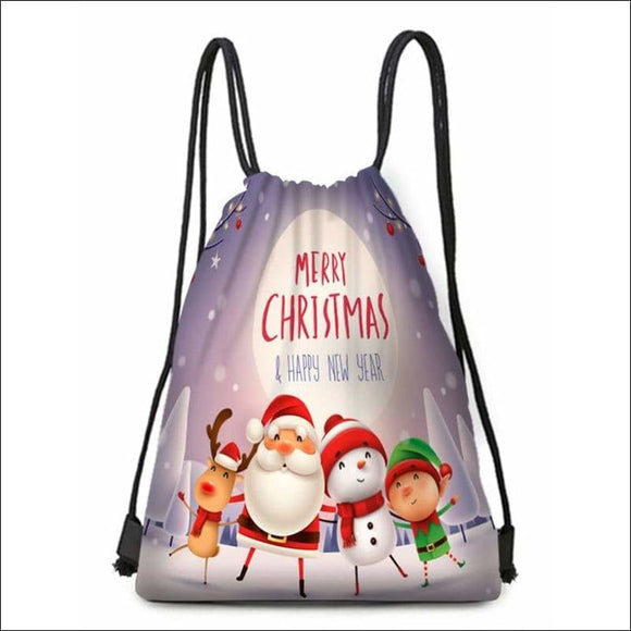 Christmas Family Print Drawstring Candy Bag - Multi - AmazinTrends.com