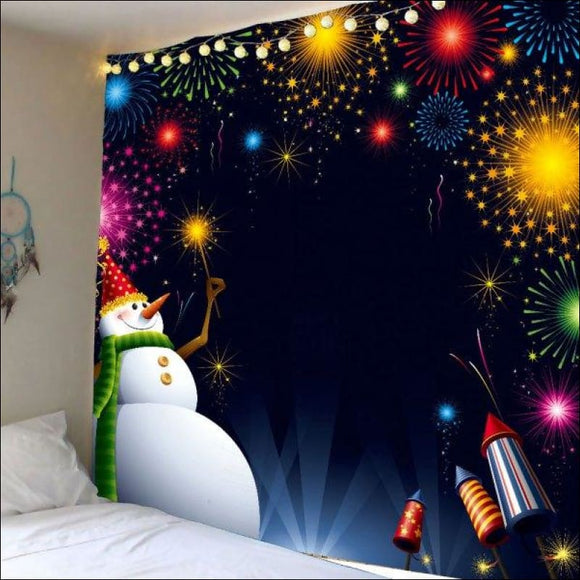Christmas Fireworks Snowman Waterproof Wall Hanging Tapestry -  W59 Inch * L59 Inch - AmazinTrends.com