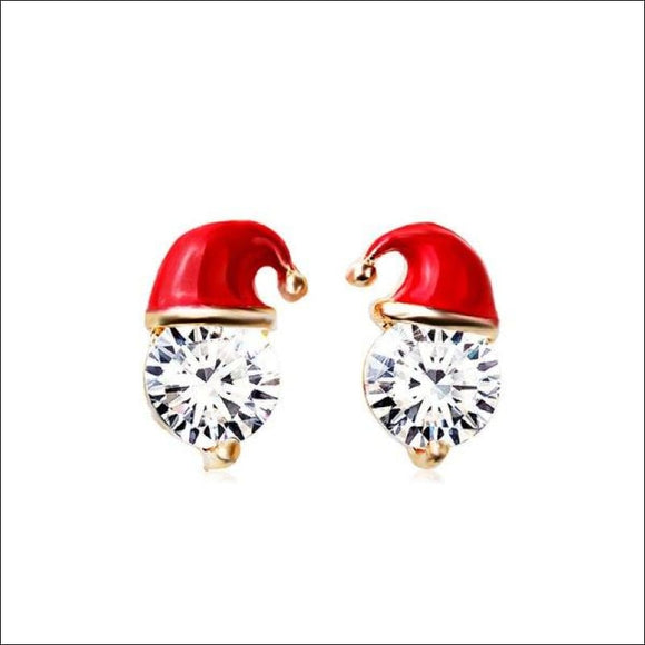 Christmas Hat Rhinestone Stud Earrings - Red - AmazinTrends.com