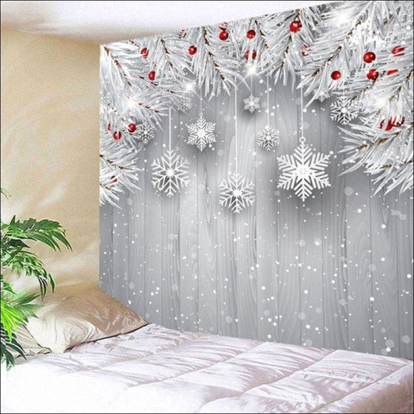 Christmas Snowflake Printed Wall Hanging Tapestry - Silver Gray W79 Inch * L59 Inch - AmazinTrends.com