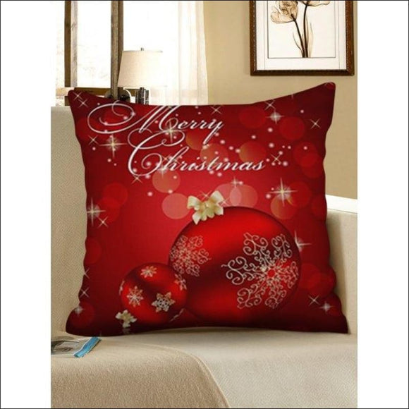 Christmas Snowflakes Baubles Pattern Pillow Case - Ruby Red W18 X L18 Inch - AmazinTrends.com