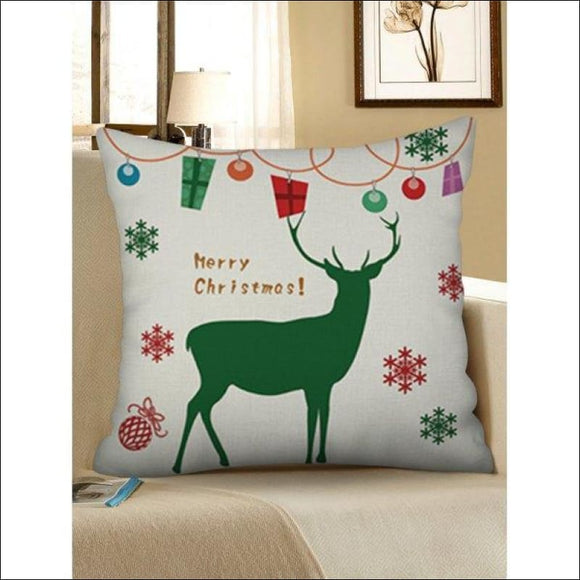 Christmas Snowflakes Elk Pattern Pillow Case - Warm White W18 X L18 Inch - AmazinTrends.com