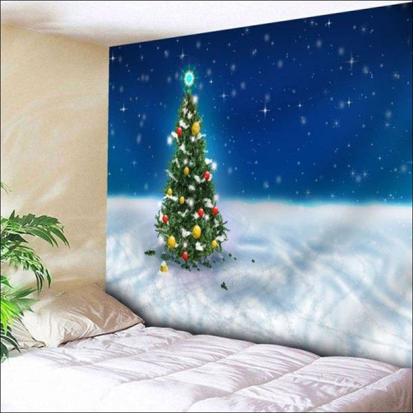 Christmas Tree Wall Art Bedroom Tapestry - Blue W79 Inch * L59 Inch - AmazinTrends.com