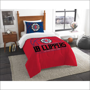 "Clippers OFFICIAL National Basketball Association, Bedding, """"Reverse Slam"""" Printed Twin Comforter (64""""x 86"""") & 1 Sham (24""""x 30"""") Set  by The Northwest Company - AmazinTrends.com"