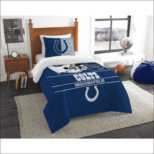"Colts OFFICIAL National Football League, Bedding, """"Draft"""" Printed Twin Comforter (64""""x 86"""") & 1 Sham (24""""x 30"""") Set  by The Northwest Company - AmazinTrends.com"