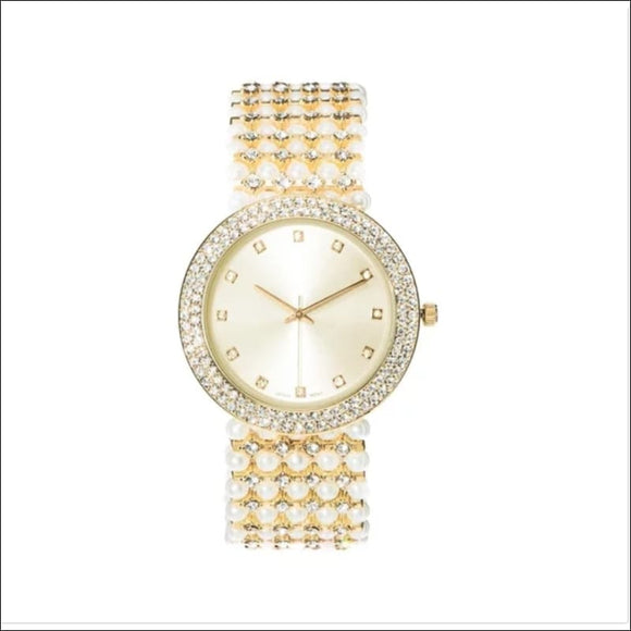 Covet Women's 'Mila' Crystal and Pearl Bead Gold Tone Bracelet Quartz Watch - AmazinTrends.com