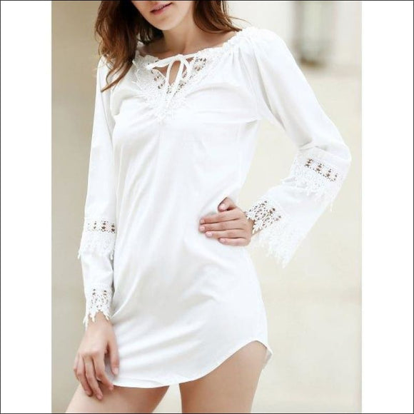 Crochet Panel Long Sleeve Casual Tunic Dress - White Xl - AmazinTrends.com
