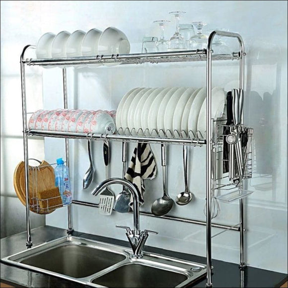 Dish Rack, 2-Tier Double Slot Stainless Steel Dry Shelf, Kitchen Cutlery Holder - AmazinTrends.com