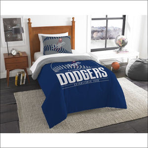 "Dodgers OFFICIAL Major League Baseball, Bedding, Printed Twin Comforter (64""""x 86"""") & 1 Sham (24""""x 30"""") Set  by The Northwest Company - AmazinTrends.com"
