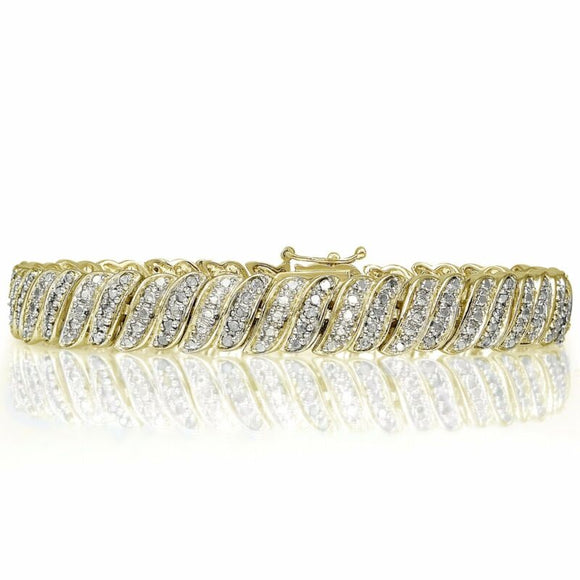18K Gold Plated Brass 1.00ct TDW Natural Diamond Tennis Bracelet - AmazinTrends.com