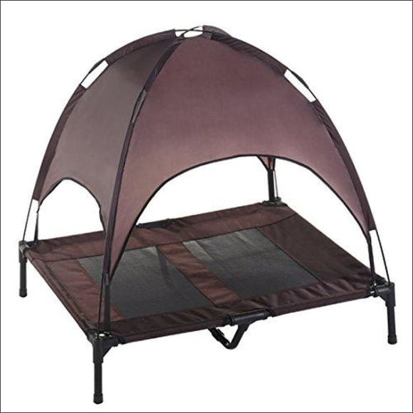 Elevated Pet Cot, with Canopy | Portable for Camping or Beach - AmazinTrends.com