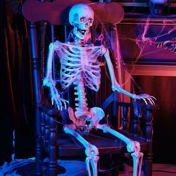 5 ft. Halloween Life Size Skeleton, LED Lit Eyes, Hanging Prop, Haunted House Decor - AmazinTrends.com