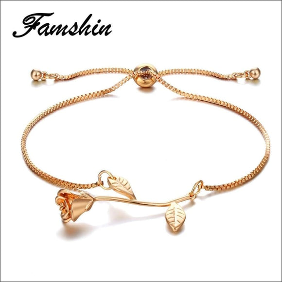 Fashion Rose Flower Charm Bracelets 📿 - AmazinTrends.com