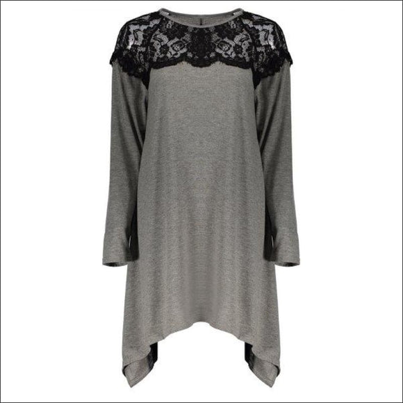 Fashionable Long Sleeve Round Neck Loose-Fitting Lace Splicing Women's T-Shirt - Gray L - AmazinTrends.com